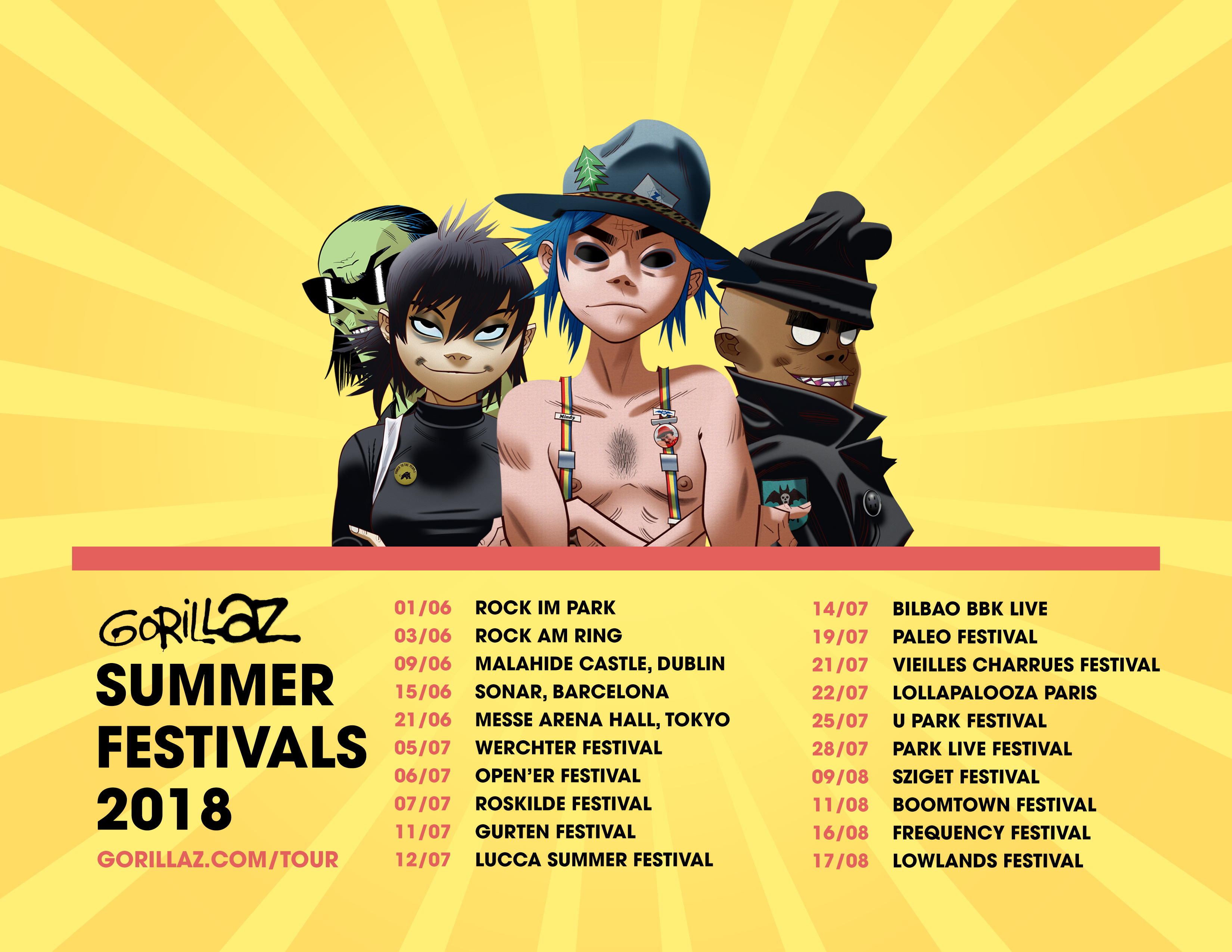 Gorillaz hit the road this summer!
