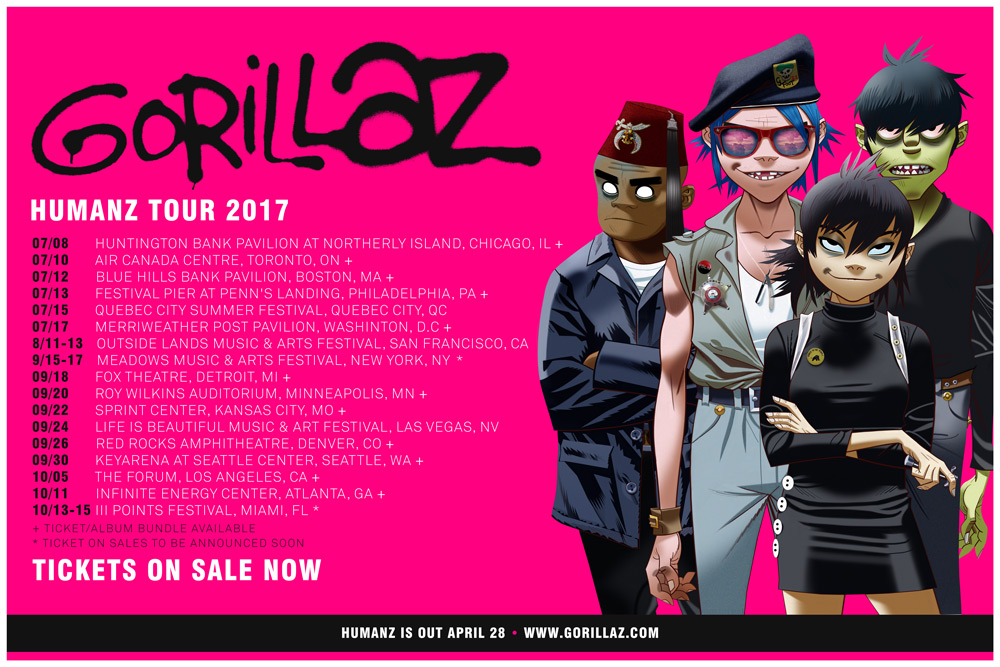 HUMANZ TOUR – US & CANADA ON SALE NOW!